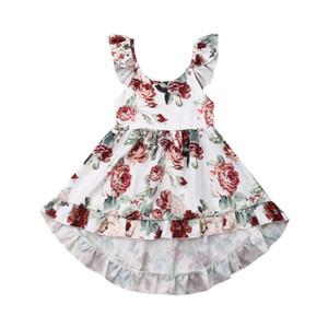 الصيف Todder الطفل أطفال بنات الزهور أكمام اللباس فستان الشمس عطلة الملابس