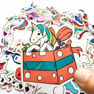 Unicorn Cartoon PVC Waterproof Stickers 50 Pack Skin Protectors Graffiti Stickers Trolley Case Car Computer Skateboard Refrigerator DHL