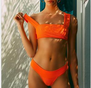 Maillot de bain sexy en bikini sexy en tissu de couleur pure pour femmes maillot de bain européen et américain