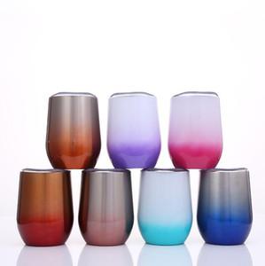 12 oz Huevo en forma de taza 7 colores degradado de acero inoxidable vasos de vino jarra de cerveza tazas sin vástago con aislamiento LJJO6861
