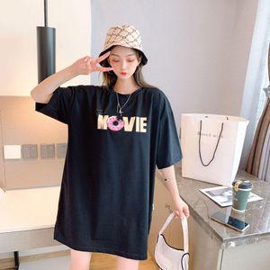 Sumeer 2020 новых женщин футболку вокруг шеи Cotton Slim Edition Trend Классический Трехцветный Печать Женщины Повседневная должн- Дикие футболки