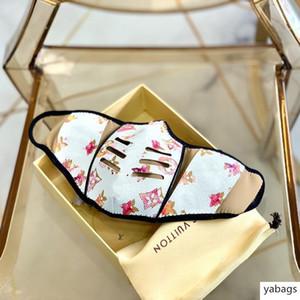 Máscaras S / M tienen Fashion Box famosas mascarillas de lujo de estar Anti-polvo del paño de algodón PU máscara de impresión diaria con la caja