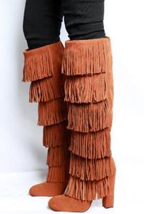 Novo estilo alta qualidade agradável borla Botas Femininas rodada toe Sapato de Salto Grande Joelho Botas Femininas camurça slip-botas tamanho 35-43