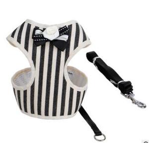Réglable harnais pour chien Leash Japon Rétro arc chiot ceinture pectorale Stripped petit chien Gilet mignon Accessoires pour animaux produits pour les chiens S M L LQPYW1156