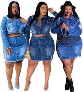 Le donne più il formato 2 pezzo del vestito denim vestiti sexy autunno inverno giacca XL-5XL Cardigan gonna tuta capispalla bodycon abiti tuta 2521