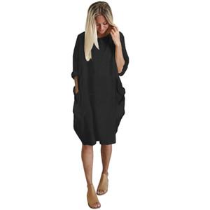 Плюс Размер Boho платье женщины дамы вскользь Карман Сыпучие вокруг шеи Мини Tops женское платье платьев Verano Бесплатная доставка