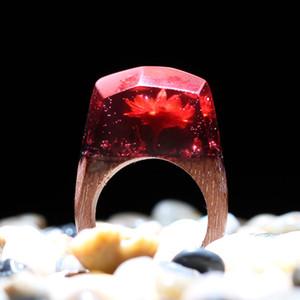 Jóias KCALOE Epoxy montanha do anel de flor Natural Resin Anel para as Mulheres Madeira Vintage