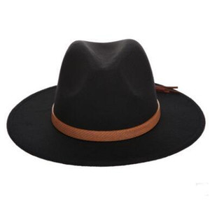 7 Renk Sonbahar Kış Sun Hat Kadınlar Erkekler Fedora Şapka Klasik Geniş Brim Keçe Floppy Cloche Cap Chapeau İmitasyon Yün Cap