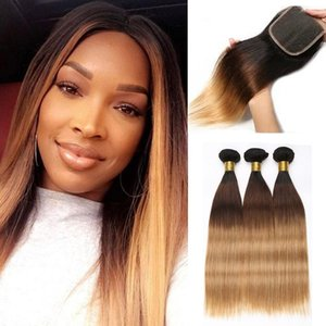 Ombre Human Hair Bundles With Closure Raw Virgin Indian Straight Hair Bundles With Closure Remy Hair Extension Three Tone 1B 4 27 Beyo