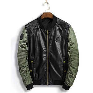 Bomber Jacket plissés Hommes Collier Stand Badge Patchwork Homme PU Veste en cuir moto hommes coupe-vent Manteau