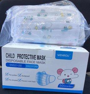 Sıcak 3 Katmanlar Tek Çocuk Çocuk Koruyucu Yüz Ağız için Güvenlik toz geçirmez Çocuk önle Toz earloop Dokumasız Maske Maske
