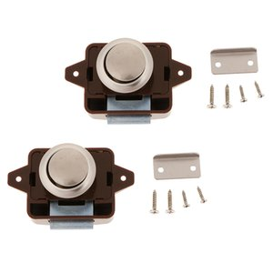Pair Push Button Latch Catch Lock For RV Boat Drawer Cupboard Cabinet Door