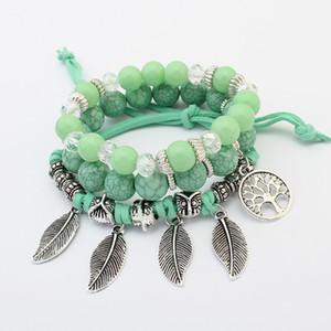 Pulseras de cuentas de cristal para las mujeres pulsera de la vendimia de la joyería de la borla de piedra natural de los encantos de la pulsera de regalo pulseira feminina