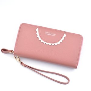2020 New Double Zipper Wallet Ladies Long Double Layer Large Capacity Litchi Pattern Wallet Mobile Phone Clutch