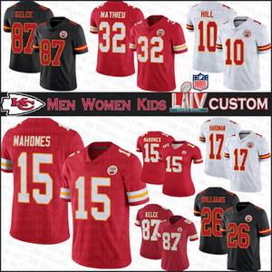 15 Patrick Mahomes Kansas City Individuelle Männer Frauen Kinder Super Bowl Football Jerseys Chef 87 Travis Kelce 32 Tyrann Mathieu 26 Williams 10 Hill