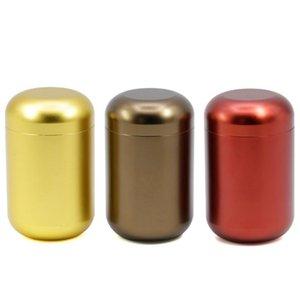 Yuvarlak Kapaklı Açık Saklama Kutulu Yüksek 7CM Alüminyum Alaşımlı Taşınabilir Tütün Kutusu