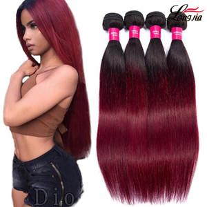 Charmingqueen İki tonlu 1b / bordo Düz İnsan saçı Dokuma Ombre insan saçı 3 veya 4 desteler Hint Düz Bakire saç