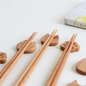 Деревянные палочки держатель Cat Claw Форма Нож Ложка Вилка Flatware Rack Японское искусство Craft ужин Посуда Палочками стойки
