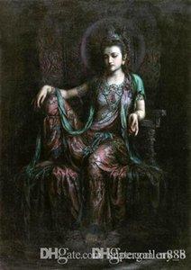 Дуньхуан летать сидя Гуаньинь Гуань-инь Авалокитешвара расписанную HD Печать масляной живописи стены искусства на холсте Home Decor P123 200311