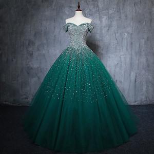 2019 милая бисероплетение блестки зеленый бальное платье Quinceanera платья плюс размер сладкий 16 платья дебютантка 15 год вечернее платье Bq139