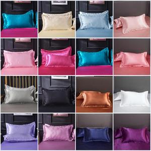 48x74cm Emulation en satin de soie Taie Taie d'oreiller pour Jeté de lit confortable couleur unie taies d'oreiller