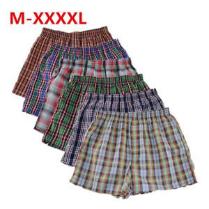 Shanboer 4 pçs / lote Mens Cueca Boxers Calções Soltos Calcinha dos homens de Algodão Masculino Grande Clássico Xadrez Seta Calças Plus Size 4xl C19041801