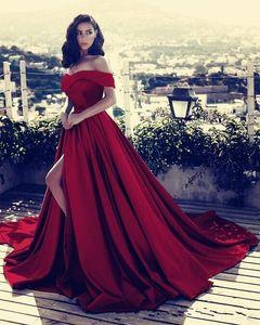 2020 New Burgundy Sky Blue Evening Dresses Wear Satin Off Shoulder Plus Size Side Split Sweep Train Celebrity Prom Dress Party Pageant Gowns
