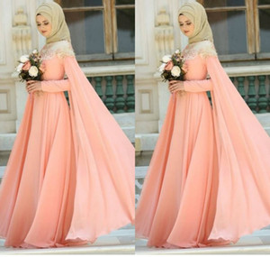 Muslim Evening Dresses Chiffon Jewel Neck Lace Appliqued Floor Length Conservative Prom Dress Custom Long Sleeve Formal Occasion Gowns