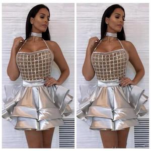 2019 HIgh Sliver Abiti da cocktail corto Bordare paillettes Increspature a strati Night Club Prom Gown Mini Evening Party Dress Abiti De Soiree