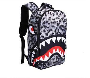 Nuova moda leopardo delle donne della signora Backpack Denti Borse Shark Designer Scuola Zaino in poliestere Designer tasche zaino con cerniera