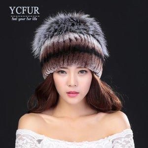 [YCFUR] Fur Hüte Caps Female Sew Streifen Rex Pelz-Kappe Top Frauen Beanies Hüte weiblich