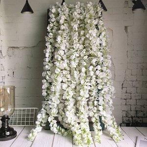 120 cm lungo glicine artificiale fiore vite seta ortensia rattan fai da te matrimonio festa di compleanno decorazione parete sfondo fiori