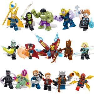 16pcs Avengers 3 Infinito Guerra Super-herói Homem de Ferro Hulk foguete Thor Thanos Black Panther Spider Man Groot Building Blocks Toy Action Figure