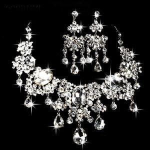 Partido de los pendientes del collar clásicos conjuntos de novia joyería Cristales boda de la novia Prom ocasión formal joyería Nueva