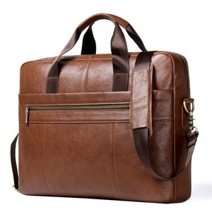 Paquete de hombro único de cuero genuino Satchel oblicuo Capa de piel de vaca puede vestirse 15.6 pulgadas Computer Man Business Briefcase bolsa para laptop