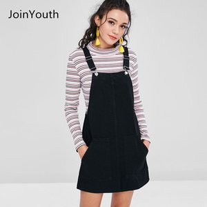 Joinyouth Women Fashion Black White Striped Pocket Denim Adjustable Suspender Dress Belt Autumn Female Braces Romper Dress MX19070401