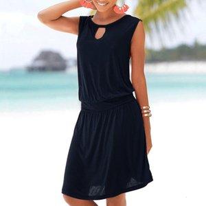 beach wear Women Summer O Neck Sleeveless Dress Evening Party Dress With Pockets beach