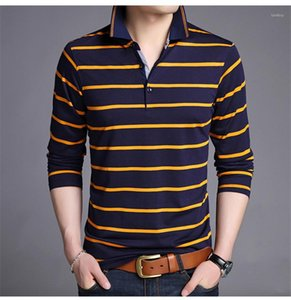 Moda gira giù Mens Tops Mens Designer Polo a righe stampato casuale a maniche lunghe T-Slim contrasto di colore