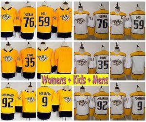 2019 Womens Nashville Predators 하키 유니폼 76 PK Subban 92 Ryan Johansen Pekka Rinne 필립 포스 베리 59 Roman Josi Kids Ladies Mens Shirt