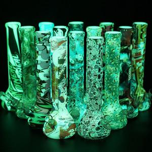 """13,5"""" lueur dans le tube en verre conduites d'eau de fumer kits bong bécher noir de crâne alien silicone plate-forme dab verre incassable narguilé bong dar plate-forme"""