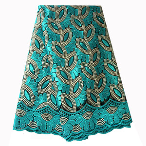 French Lace Fabric Teal Green Beaded African Lace Fabric 2019 High Quality Embroidered for Nigerian Wedding Dresses
