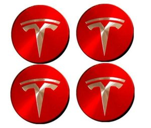 테슬라 모델 3 S X 용 56mm 자동차 휠 센터 캡 림 휠캡 엠블럼 레드 + 실버