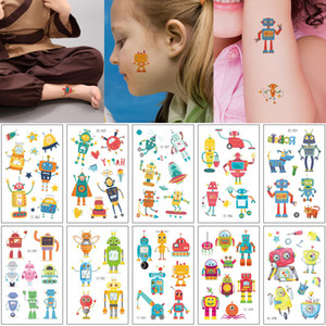 Cartoon Waterproof Tattoo Sticker Robot Decal Fake Kid Temporary Small for Boy Girl Tattoo Body Face Arm Neck Art Makeup Toy Fans Decoration