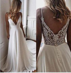 Modesta V cuello de la gasa una línea de vestidos de boda de Boho Beach 2021 cuentas apliques formal diseñador barato vestidos de novia vestido de novia Vestidos de Novi