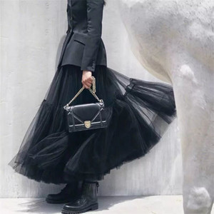 Steampunk 블랙 맥시 롱 소프트 Tulle Skirt 고딕 플리트 티투 스커트 여성 빈티지 Petticoat Lange Rok Jupes Falda Q190517