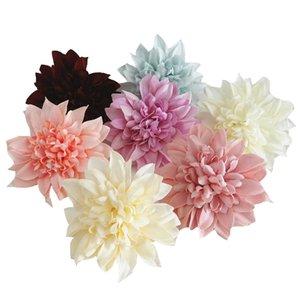 New 11cm Dahlia Pompon Head Fake Flowers Silk Artificial Flower For DIY Bride Wedding Wall flores Garden Decoration Home Decor