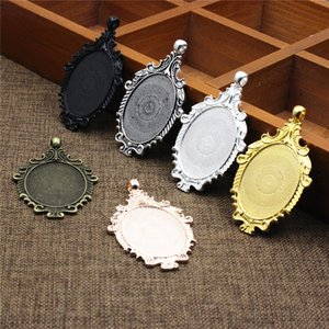 Haufen Schmuck Komponenten Fit 30x40mm Oval Cabochon Zink-Legierung hängende Behälter-Miniatur / Glas / Cabochon Rahmen Lünette Einstellungen Blank B ...