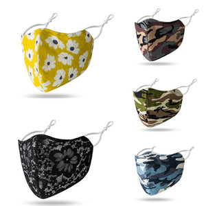 Floral designer Camo Viso Maschere lavabile riutilizzo Maschera per il viso maschere di partito a gettare riutilizzabile Maschera trasporto veloce