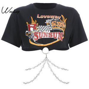 Weekeep 블랙 Streetwear 금속 체인 패치 워크 T 셔츠 여성 인쇄 O 넥 반팔 티셔츠 2019 패션 티 셔츠 Femme Y19072001