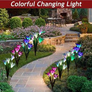 Открытый солнечный садовый стендные огни на солнечных сигнальных огнях с лилию цветок многоцветные изменения светодиодные солнечные лужайки лампы для сада дворик дворик